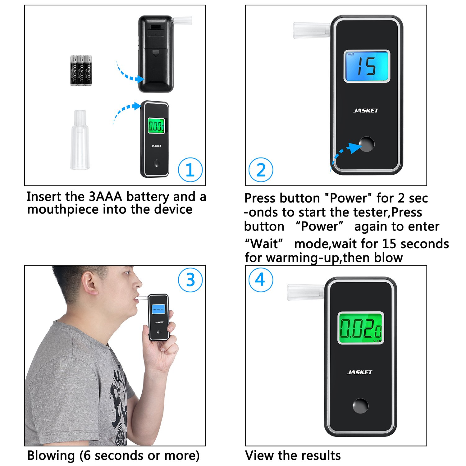 JASTEK Breathalyzer Professional Portable Digital Breath Alcohol Tester with 5 Mouthpieces -Black by JASTEK (Image #8)