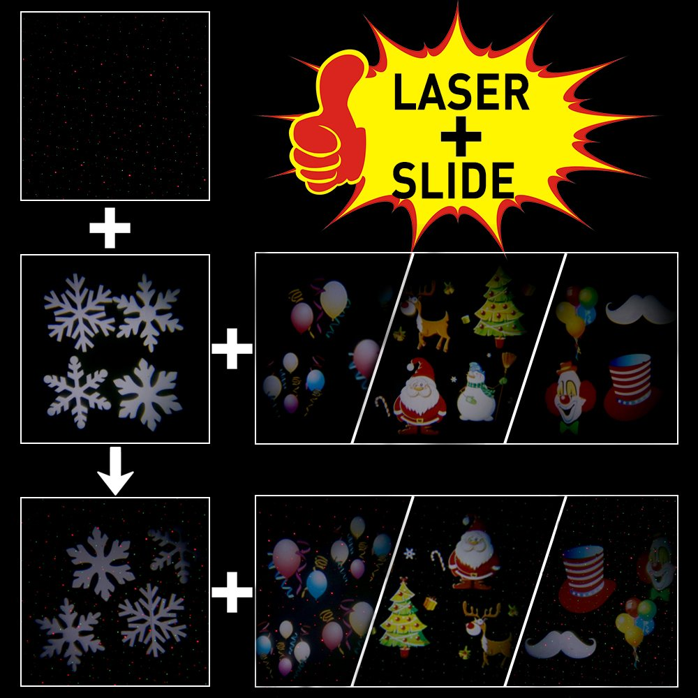 Ominilight 2 in 1 Laser and LED Projector Light,with Green&Red Laser and 4 LED Switchable Patterns, for Holiday, Party, Wedding, Disco