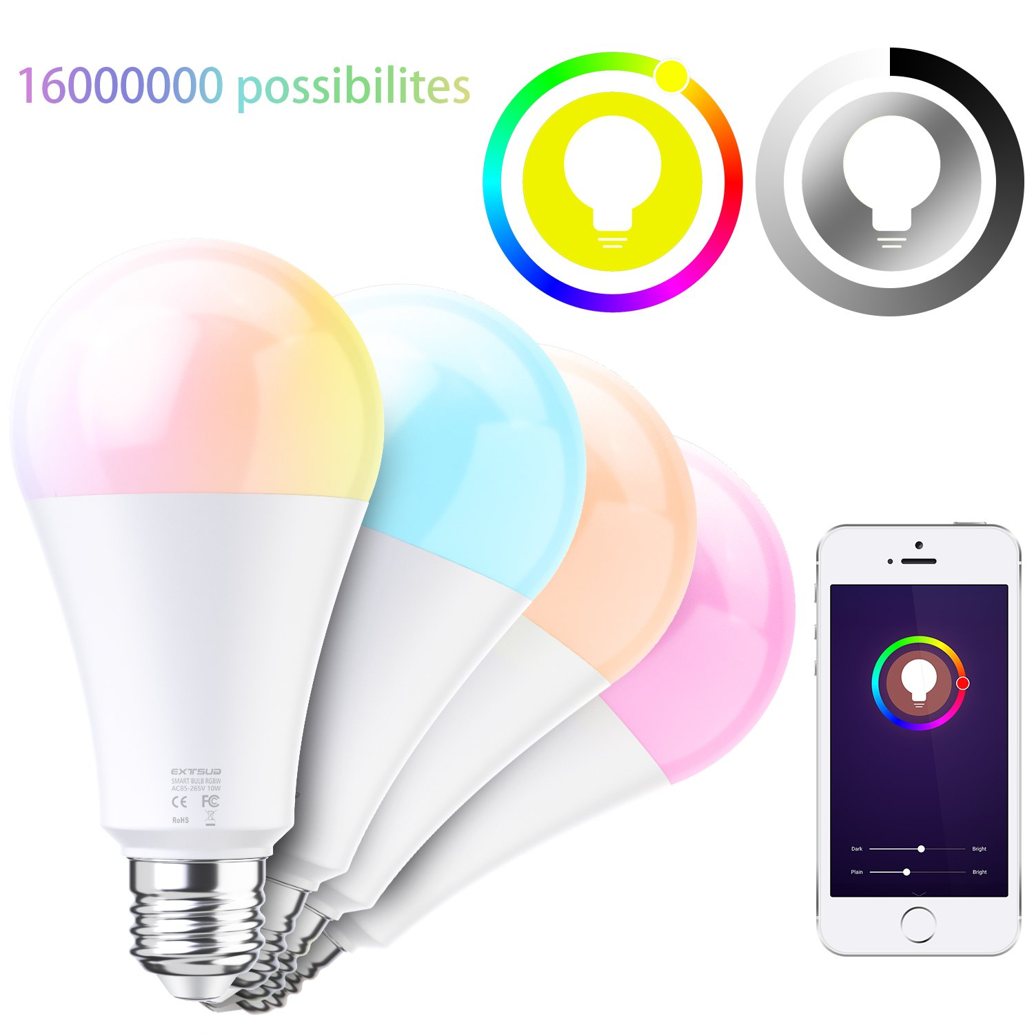 Led Bombilla Amazon Extsud Alexa Compatible Echo Inteligente Multicolor Wifi E27 Con 10w Regulable Intensidad htsQCdr