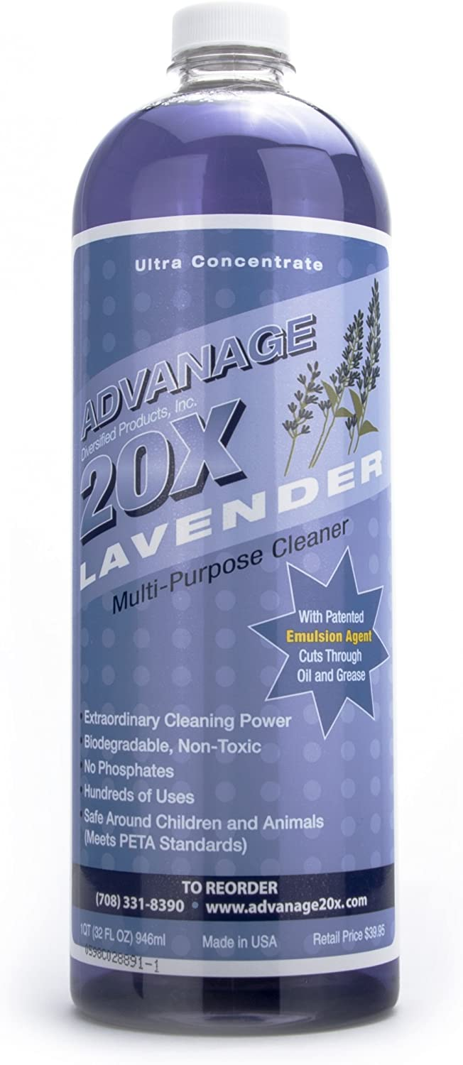 ADVANAGE the Wonder Cleaner 20X Multi-Purpose Ultra Concentrated Formula, Makes 20 Quarts, Eco Friendly, Child and Pet Safe, Non Toxic and Biodegradable, Lavender Scented, 32 fluid ounce One Quart