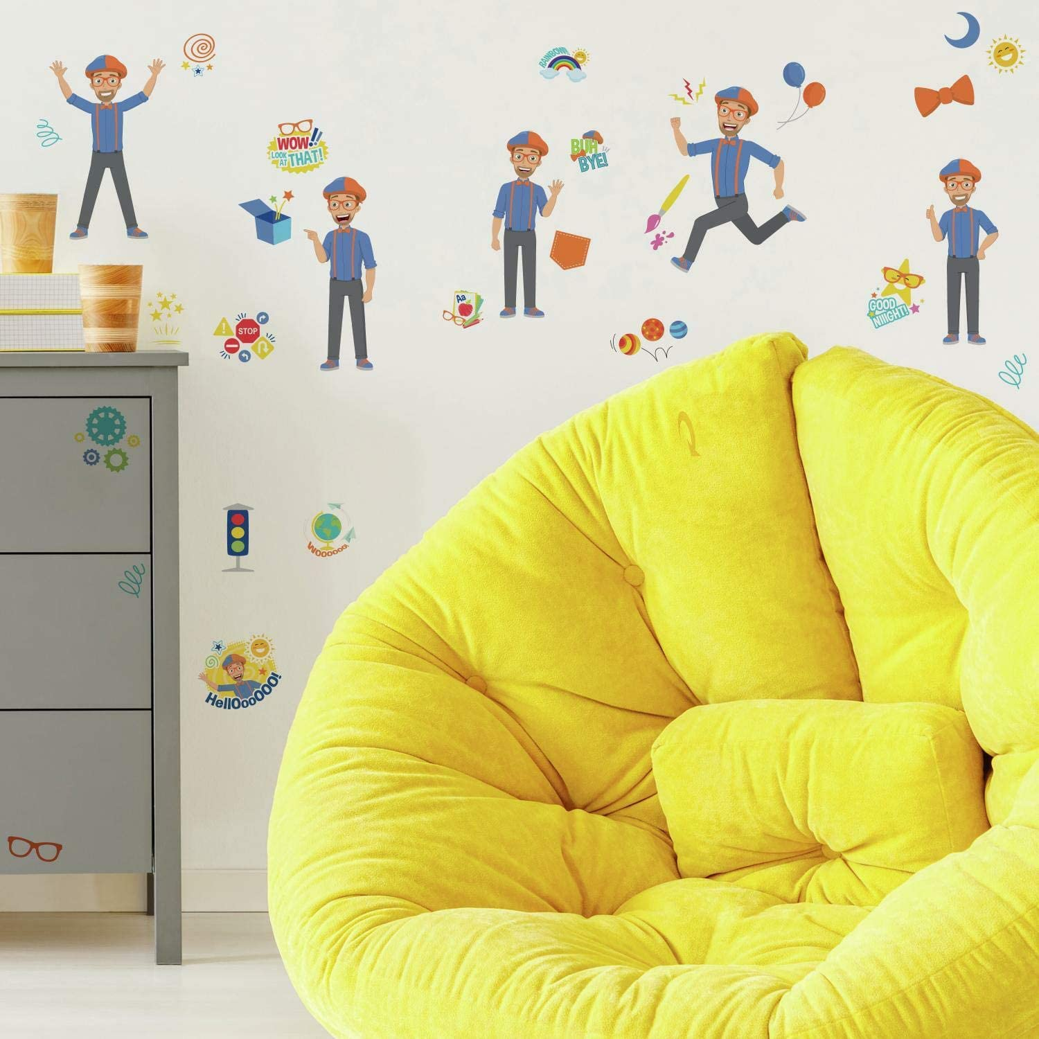 RoomMates RMK4472SCS Blippi Character Peel and Stick Wall Decals, Blue, Orange
