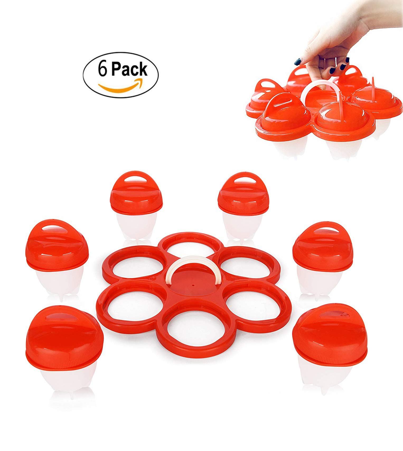 Mcgreen 6 Pack Egglets Egg Cooker Set Non Stick Hard Boiled Eggs Egg with Egg Shell Silicone Eggs Boiler Cookers