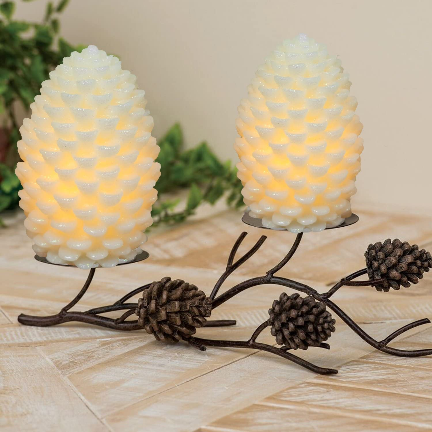 Xmas Party Decoration Battery Operated Pine Cone Shaped LED lamp for Home Set of 5 Ivory DRomance Christmas Decoration Pinecone Flameless LED Candles with Remote and Timer Decorative Light