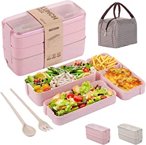 Bento Box for Adults Kids, 3-In-1 Meal Prep Container, 900ML Janpanese Lunch Box with Compartment, Wheat Straw, Leak-proof, Spoon & Fork & Lunch Bag, BPA-free (Pink)