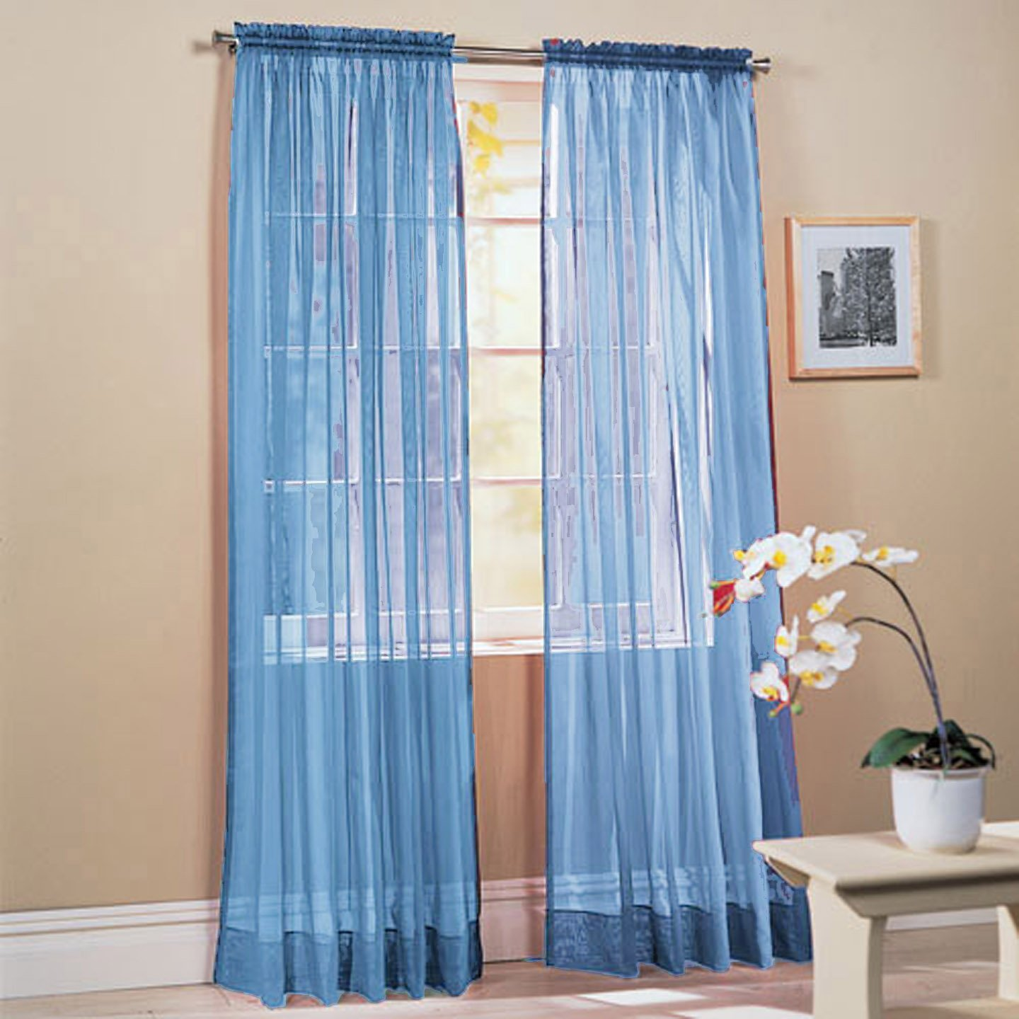 Amazon 2 Piece Solid Sky Blue Sheer Window Curtains drape