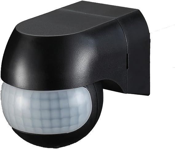 Sensor de movimiento Ukew - infrarrojo (PIR) para luces exteriores, 180 grados, negro, IP44: Amazon.es: Iluminación