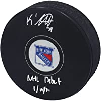 "$69 » K'Andre Miller New York Rangers Autographed Hockey Puck with""NHL Debut 1/14/21"" Inscription - Autographed NHL Pucks"
