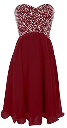 Endofjune Artificial Diamond Short Chiffon Strapless Prom Dress US-6 Burgundy