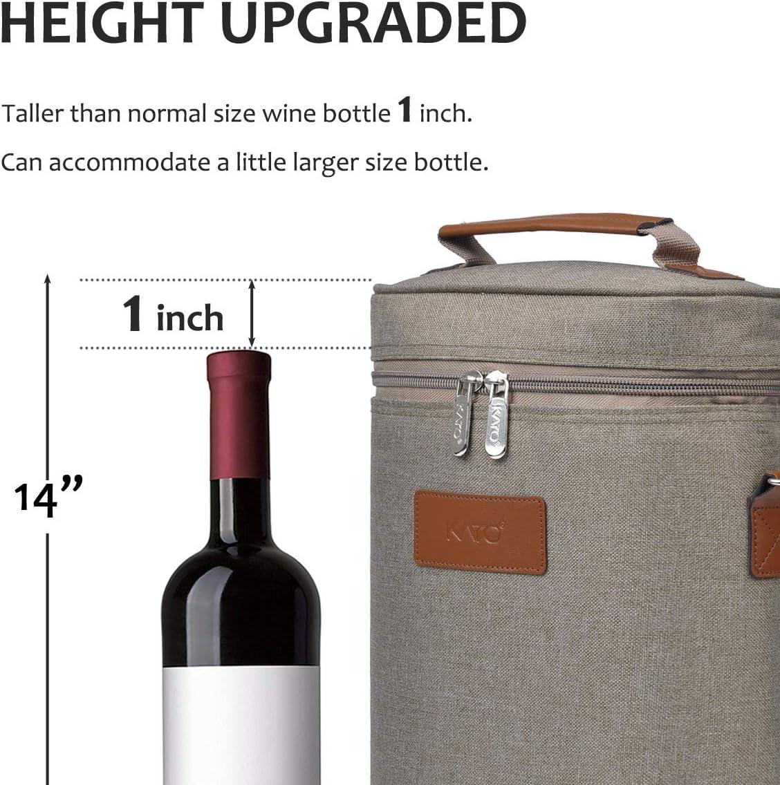 Kato Wine K/ühltasche gepolsterte 2 Flasche Weintr/äger isoliert mit Griff und Schultergurt f/ür Reisen Geschenk Picknick