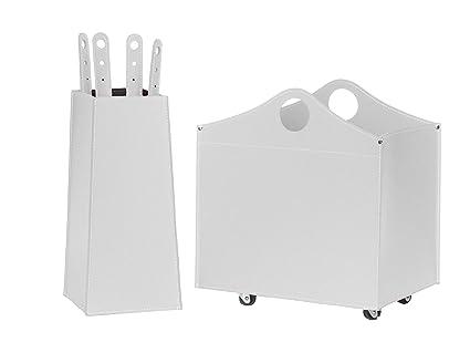 BOCAD: Set para chimenea y estufas en cuero de color Blanco compuesto por Porta Leña
