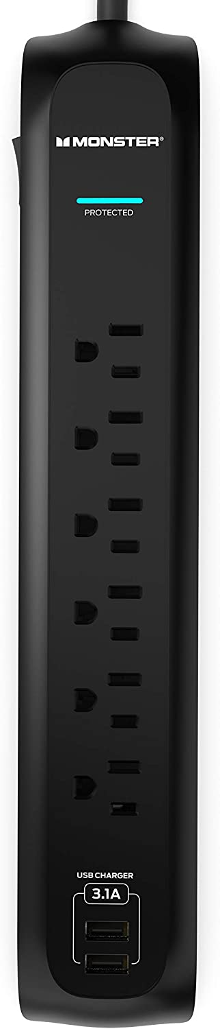 Monster Power Strip Surge Protector with USB Ports - Heavy Duty Protection for 6 Plug-ins and 2 USB Gadgets - for Computers, Home Theatre, Home Appliance and Office Equipment, 6 FT, 6-Outlet with USB