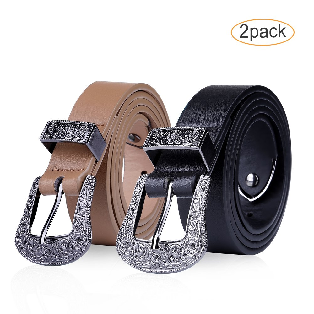 2-PACK Women Skinny Western Cowgirl Slim Belt Solid Color Pin Buckle Simple Occidental Sexy Belt SET(S)