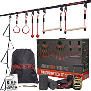 VENTURETREK Challenge 50FT Ninja Warrior Obstacle Course for Kids and Adults - Ninja Slackline for Backyard with Adjustable Obstacles Including Monkey Bars & Gym Rings - Kids Outdoor Workout Equipment