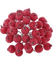 Pack of 200pcs Mini Christmas Frosted Fruit Berry Holly Artificial Flower Decor 14 Colors - Red, 13cm