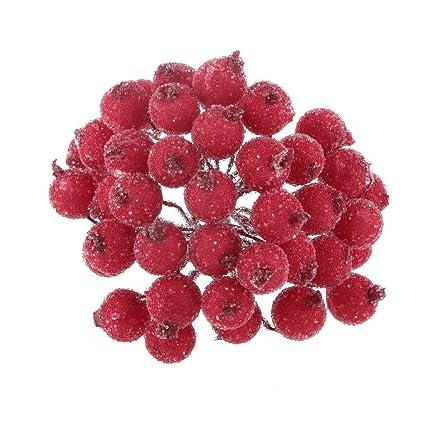 Image Fleur Noel.200pcs Mini Baie Fruit De Noel Givre Houx Fleur Artificielle Decoration Rouge
