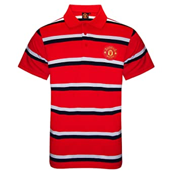 57d2192f93e Manchester United FC Official Football Gift Mens Striped Polo Shirt   Amazon.co.uk  Clothing
