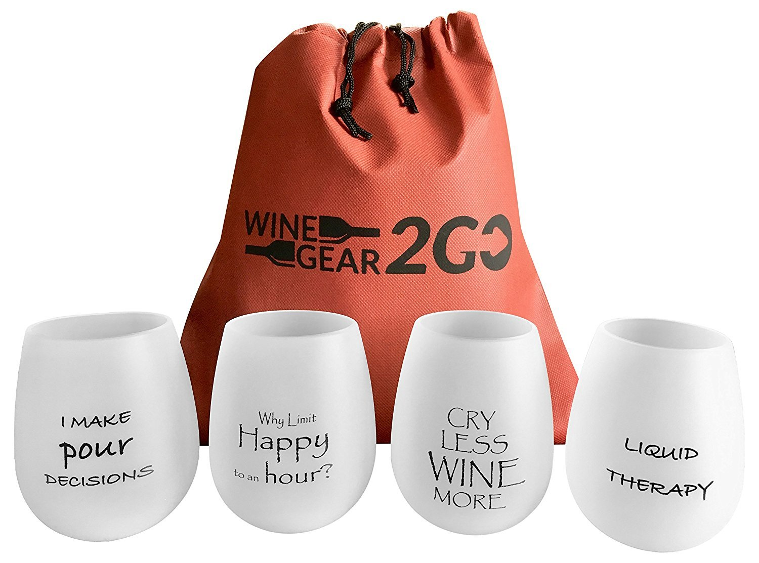 4 Wine Glasses Unbreakable W/Bag-Great Gift Food Grade Silicone Funny and Durable Shatterproof Stemless Great for Wine Beer Whiskey Cocktail any Beverage Outdoor Party Pool Camping Beach Frosted wine Gear 2GO SYNCHKG114727