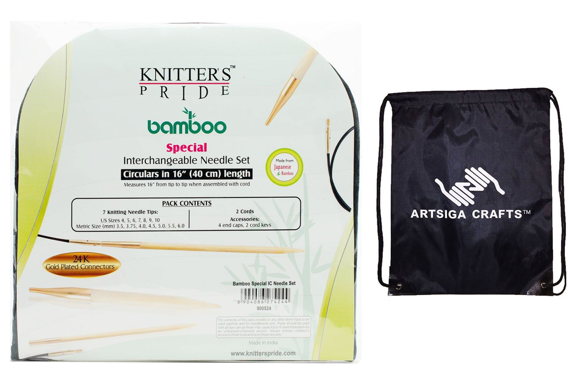 Knitter's Pride Bamboo Interchangeable Circular Knitting Needles Short Tip Set Bundle with 1 Artsiga Crafts Project Bag 900524