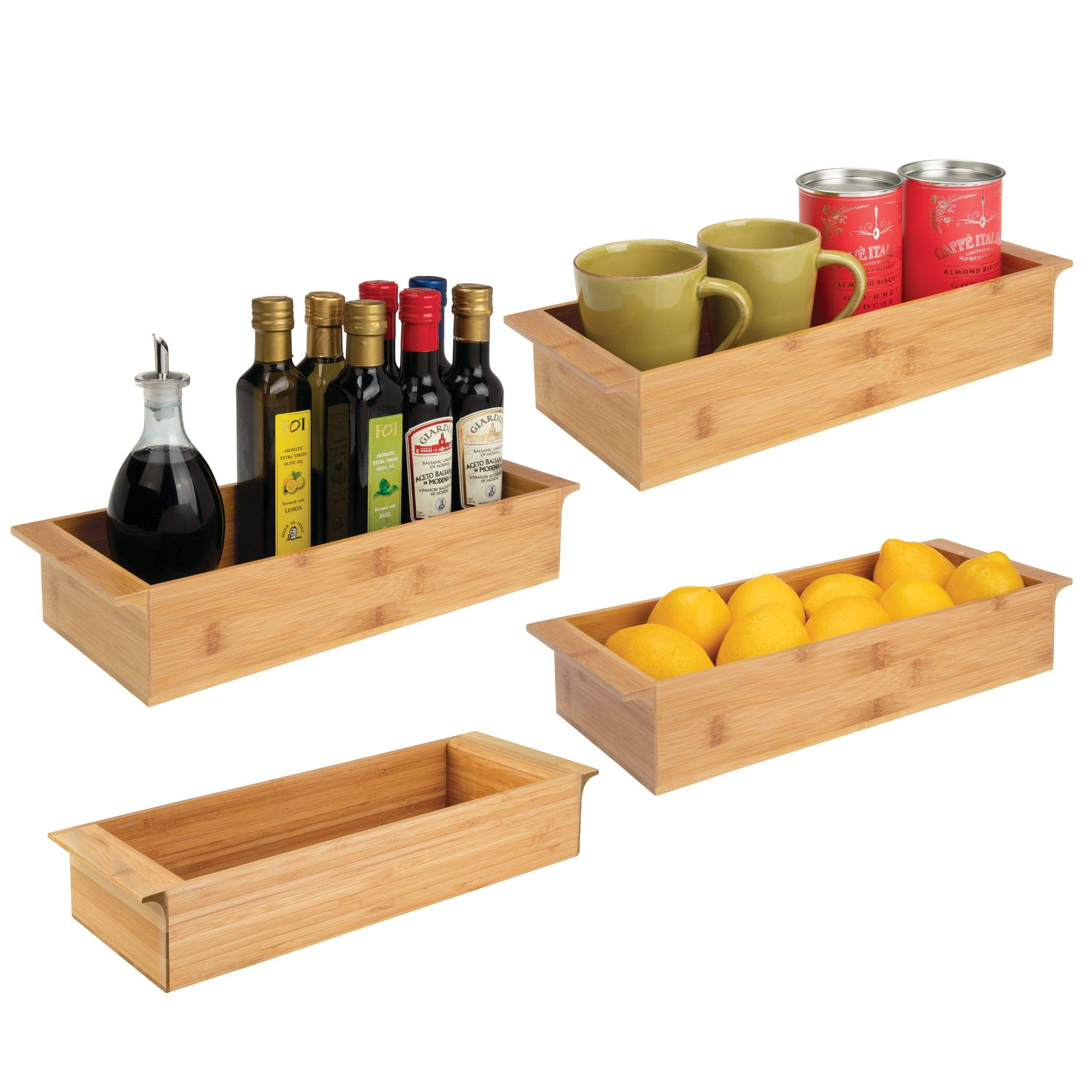 mDesign Bamboo Wood Storage Organizer Tray Bin with Handles, Eco-Friendly, Multipurpose; Use in Kitchen Drawers, Countertops, Shelves or Pantry - Pack of 4-16'' x 6'' x 3'', Stackable, Natural Finish