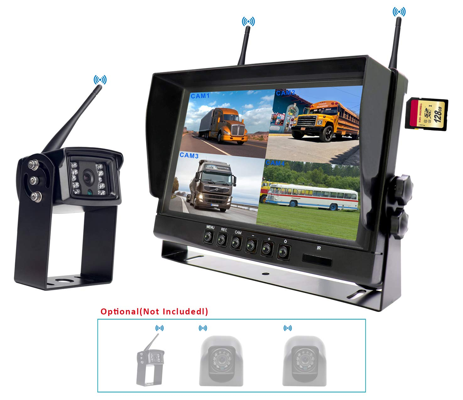 """CAMONS Digital Wireless Backup Camera for RV Trailer Backup Camera with Monitor 120/°HD Night Vision IP68 Waterproof Camera Rear//Side//Front with Mic Shenzhen Topwell Electronics Co Ltd T-DW-7150R 7/"""" Quad Split No Flicker, Built-in DVR Trucks"""