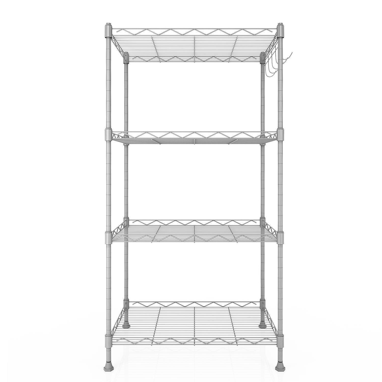 Hindom 4 Tier Kitchen Metal Wire Shelving Unit Commercial Grade Adjustable Storage Shelves Organizer Silver&Black Rack(US STOCK)