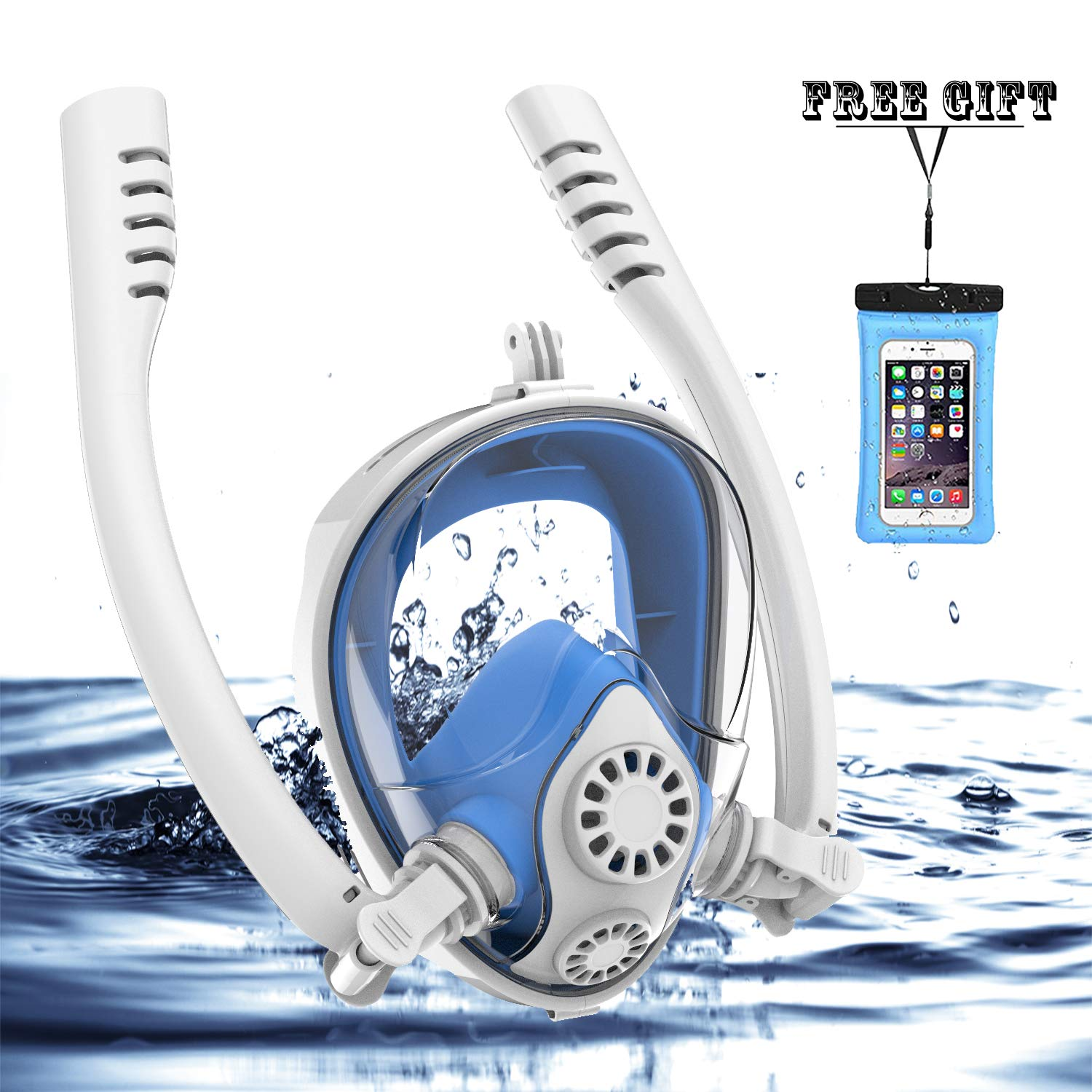 Full Face Snorkel Mask, HJKB K2 Free Breathing Snorkeling Mask with Double Tubes and 180° Panoramic Viewing, Zero Fog and Anti Leak Guarantee with Camera Mount for Adult (White + Blue, Medium Adult) by Jahuite (Image #1)