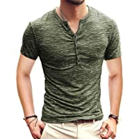 7e1a641927ed KUYIGO Mens Casual Slim Fit Basic Henley Long Sleeve T-Shirt