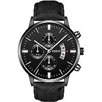 Vosht Reloj para Hombre Analógico, Color Negro, Carátula de Aluminio y Correa de Piel, Movimiento Tipo Cuarzo,con Fecha…