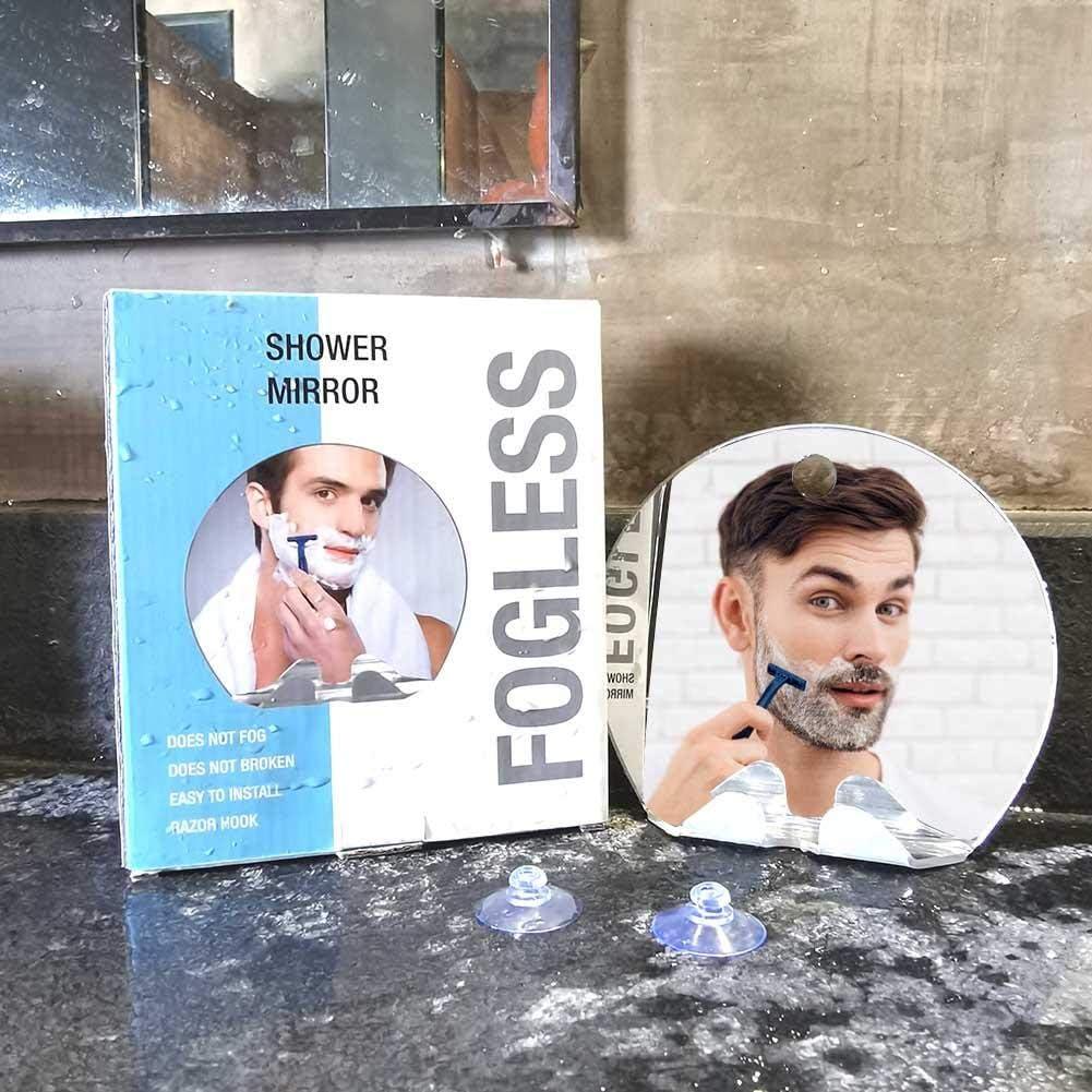 Wand beschlagfreier Make-up-Spiegel Anti-Beschlag-Duschspiegel tragbarer Reisespiegel mit Rasierhaken Dusche runder Rasierspiegel T/ür Anti-Sturz Saugnapf f/ür Badezimmer