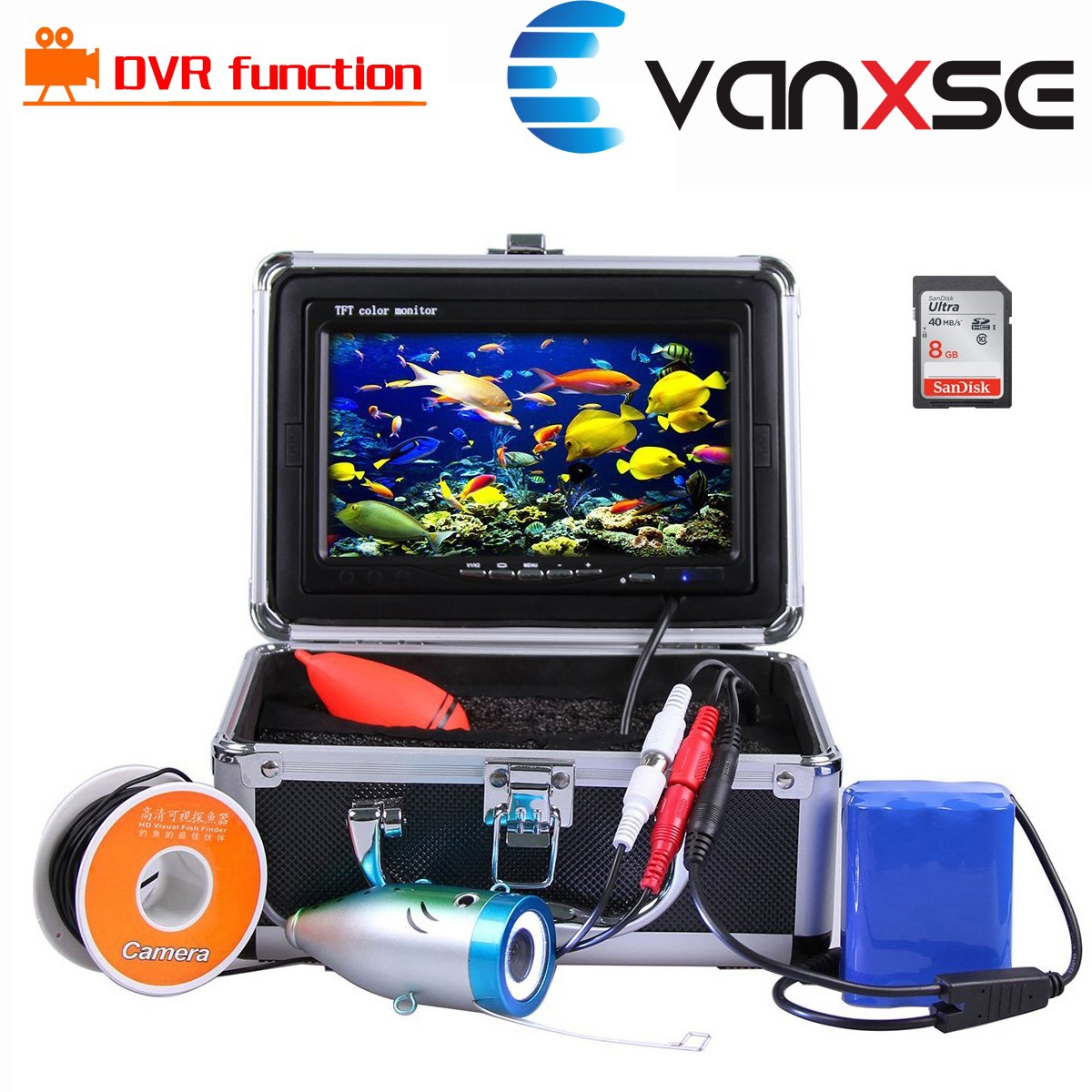 Vanxse Underwater Fish Finder With Video Recorder DVR Function Professional Fishing Video Camera 7'' TFT Color LCD HD Monitor 1000tvl CCD 50M Cable Length 8GB SD Card by Vanxse