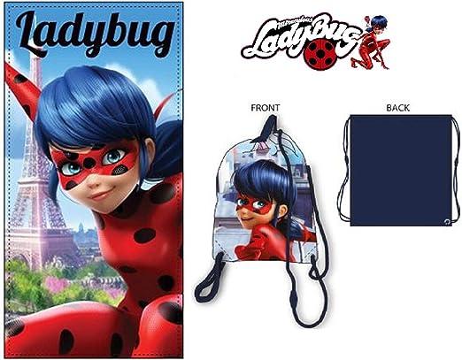 Ladybug Miraculous toalla de playa + bolsa de playa Ladybug: Amazon.es: Hogar