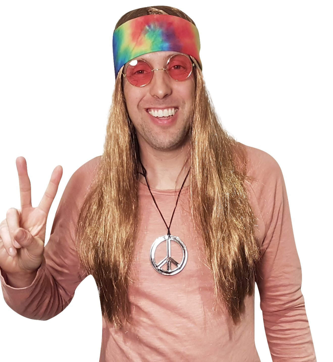 Hippie Wig Costume with Tie Dye Bandana 60s 70s Hippy Woodstock Festival Gear