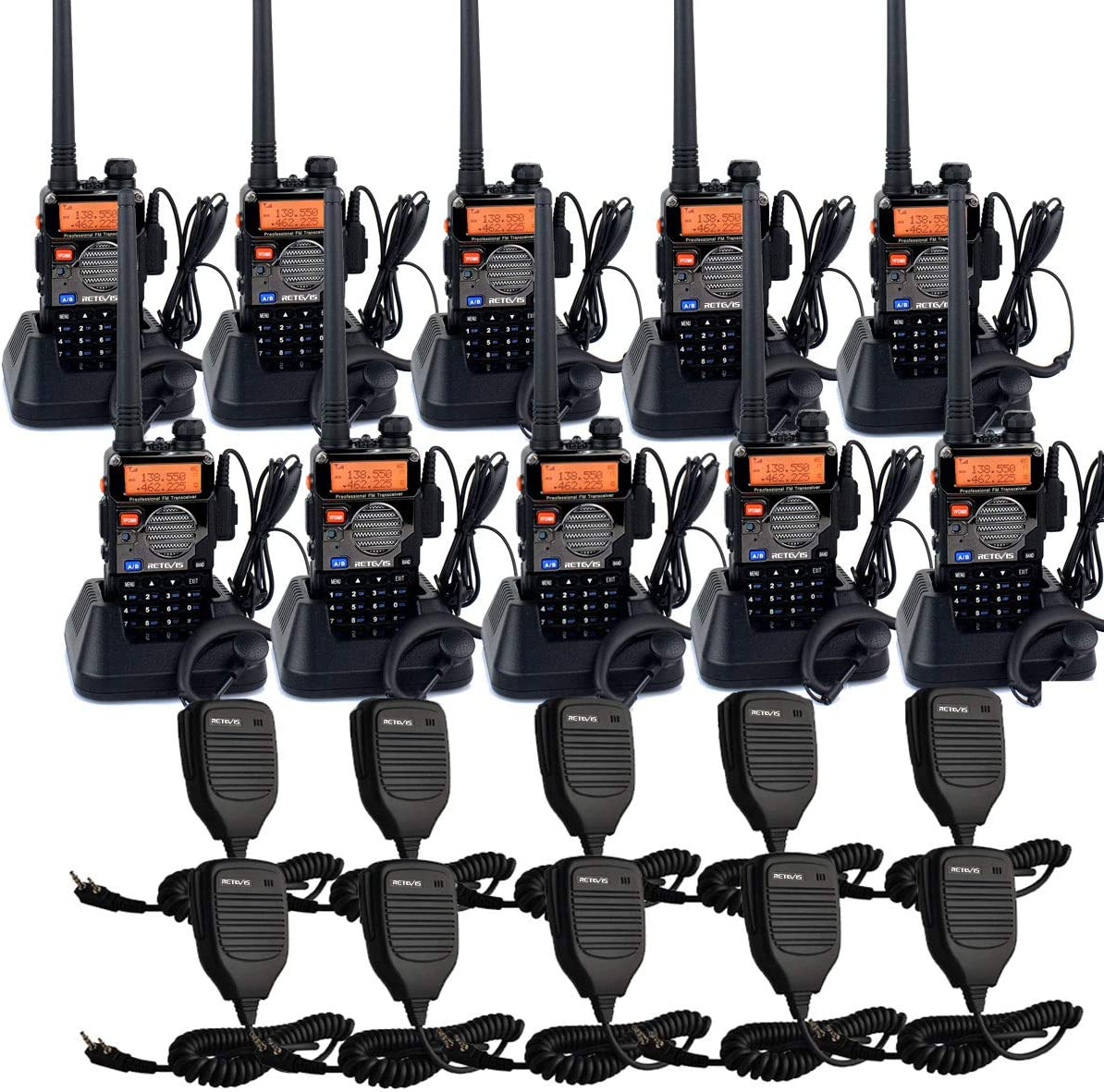 Retevis RT-5RV 2 Way Radios Long Range, VHF/UHF Dual Band Two Way Radio, Walkie Talkies with Earpiece and Mic, 128CH Handheld Radios for Large Retail, Contractor(10 Pack)