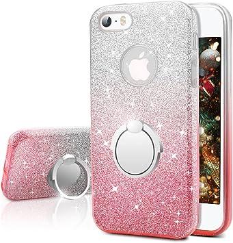 Miss Arts Coque iPhone Se, Coque iPhone 5S / 5, Coque Silicone Paillette Strass Brillante Bling Glitter de Luxe avec Support, Bumper Housse Etui de ...