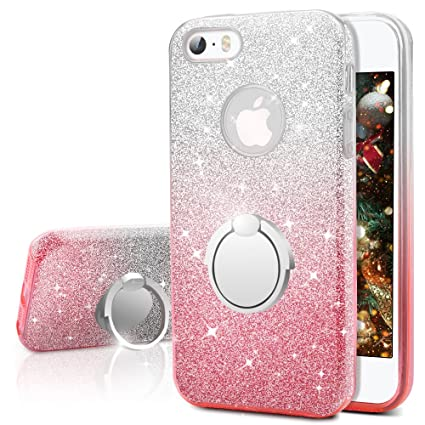 the best attitude b58e0 81ae4 iPhone SE Case, iPhone 5S / 5 Case, Silverback Girls Bling Glitter Sparkle  Cute Case with 360 Rotating Ring Stand, Soft TPU Outer Cover + Hard PC ...