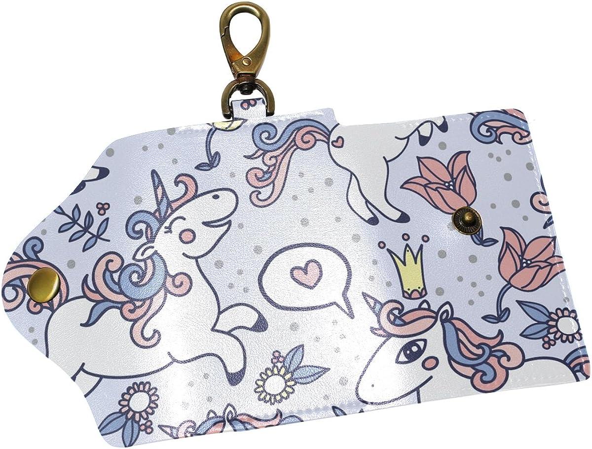DEYYA Cute Lovely Unicorns And Flower Leather Key Case Wallets Unisex Keychain Key Holder with 6 Hooks Snap Closure