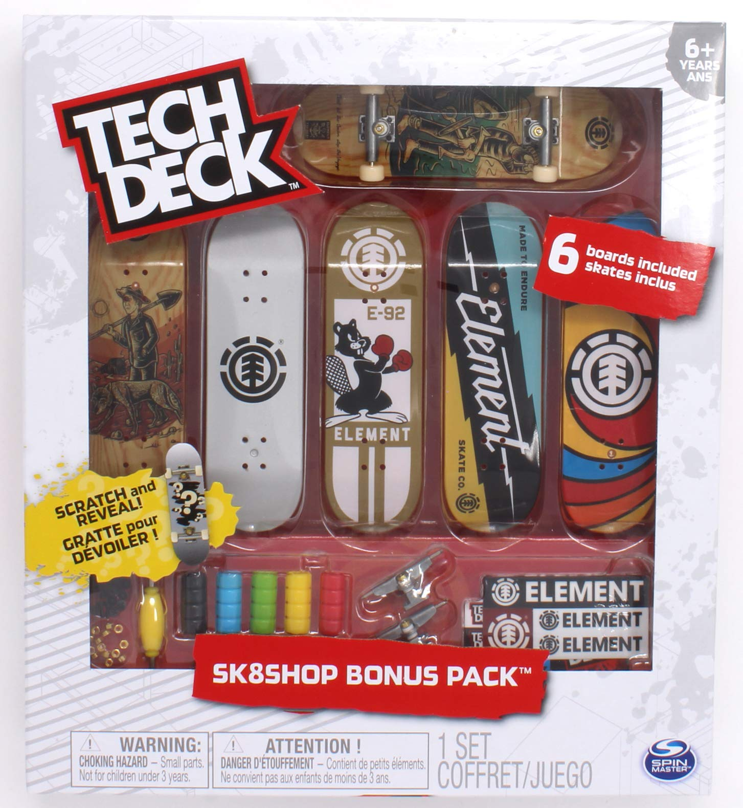 Tech Deck Element Skateboards Sk8shop Bonus Pack with 6 Fingerboards