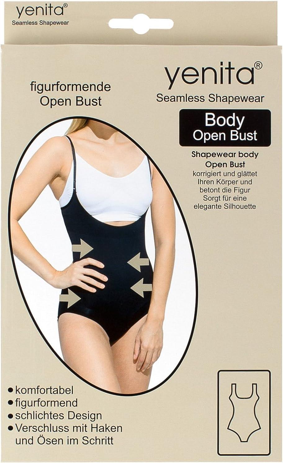 Yenita Womens Bodyshaper Open Bust Bodysuit with Straps Slimming Body Underbust
