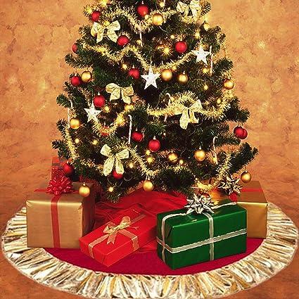 Albero Di Natale Grande.Decorazione Per Base Albero Di Natale In Tessuto Felpato Grande 78 Cm Bianca Gold