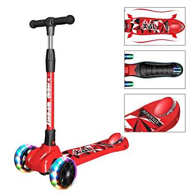 New Olym Kick Scooter for Kids 3 Wheel Foldable for Big Boys or Girls Toddlers,4 Adjustable Height with Extra Wide Deck All-Covered Brake for Children 3-14: Sports & Outdoors