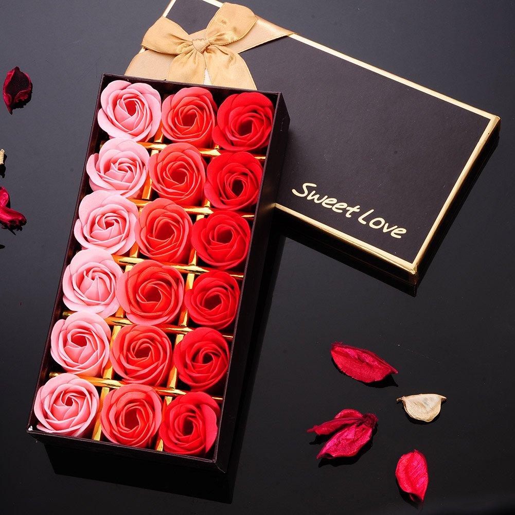 LianLe 18 PZ Rose Sapone Fiore romantico bagno doccia Regali in elegante scatola regalo di nozze Mother's Day gift