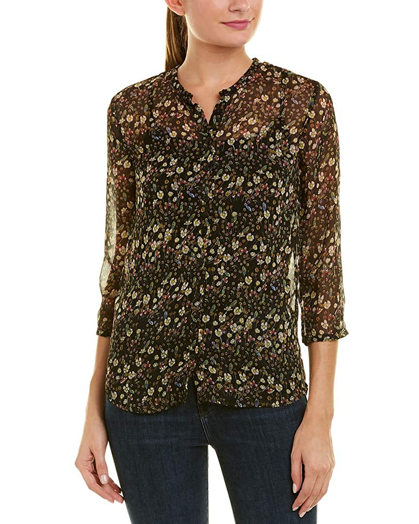 e8e6a372 French Connection Hallie Crinkle LS Collarless Shirt US4 Black: Amazon.ca:  Clothing & Accessories