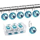 BEAVO Acrylic Fashion Decorative Home Rolling Light Blue Shower Curtain Hooks Rhinestones Bathroom Bath Baby Room Bedroom Liv