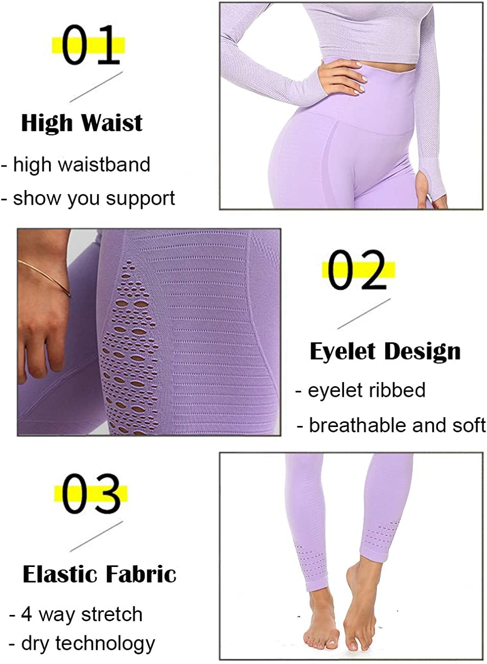 CROSS1946 Womens Seamless Yoga Legging High Waist Workout Compression Fitness Pants Slimming Gym Active Tight