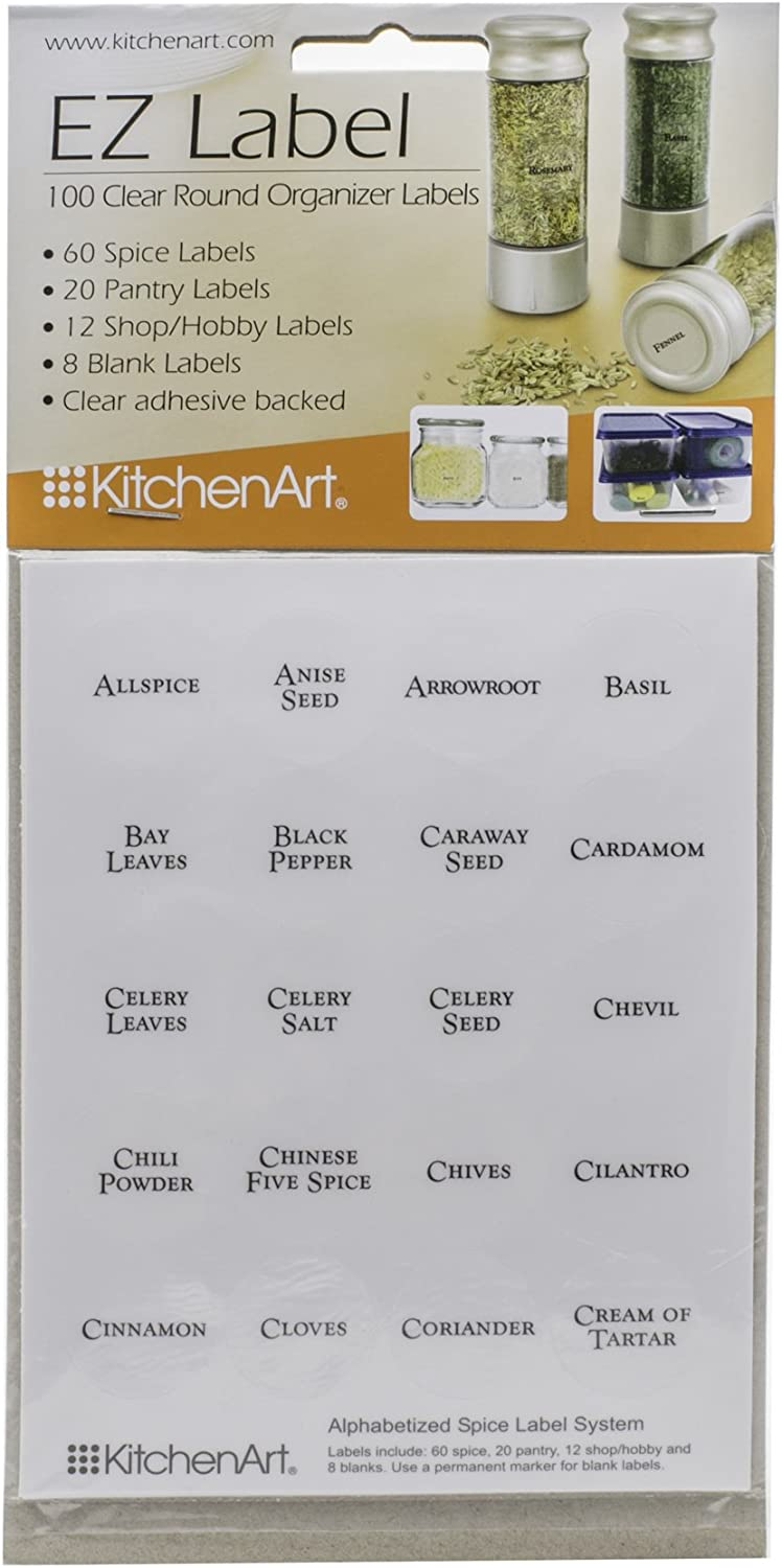 Fox Run KitchenArt 100 Clear Round Spice Pantry Jar Labels With Black Lettering