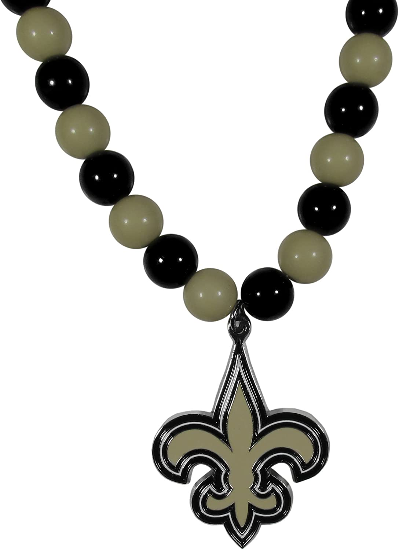 NFL Siskiyou Sports Womens New Orleans Saints Fan Bead Necklace 24 inch Team Color
