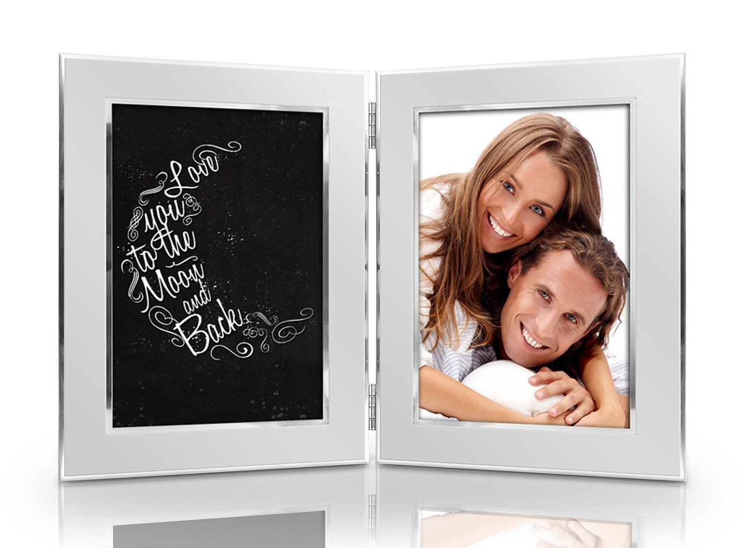 Love You To The Moon And Back Picture Frame Set - Premium Double Hinged Photo Frames - Gift for Dad, Husband, Grandpa, Men - Perfect Present for His Birthday, Father's Day, Christmas