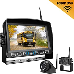 """Wireless Dual Backup Camera with 7"""" Touch Button Rearview Monitor for RV Trailer Truck Motorhome Camper Digital 1080P AHD Rear Side View Cam with Long Range Operation Signal DVR System Xroose CM2"""