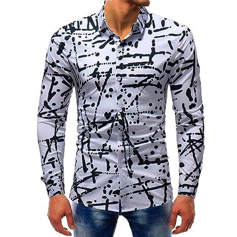 Sonnena Hombre Hombre Camiseta Estampado Manga largas, Moda Impresa Blusa Casual Camisas de Manga Larga