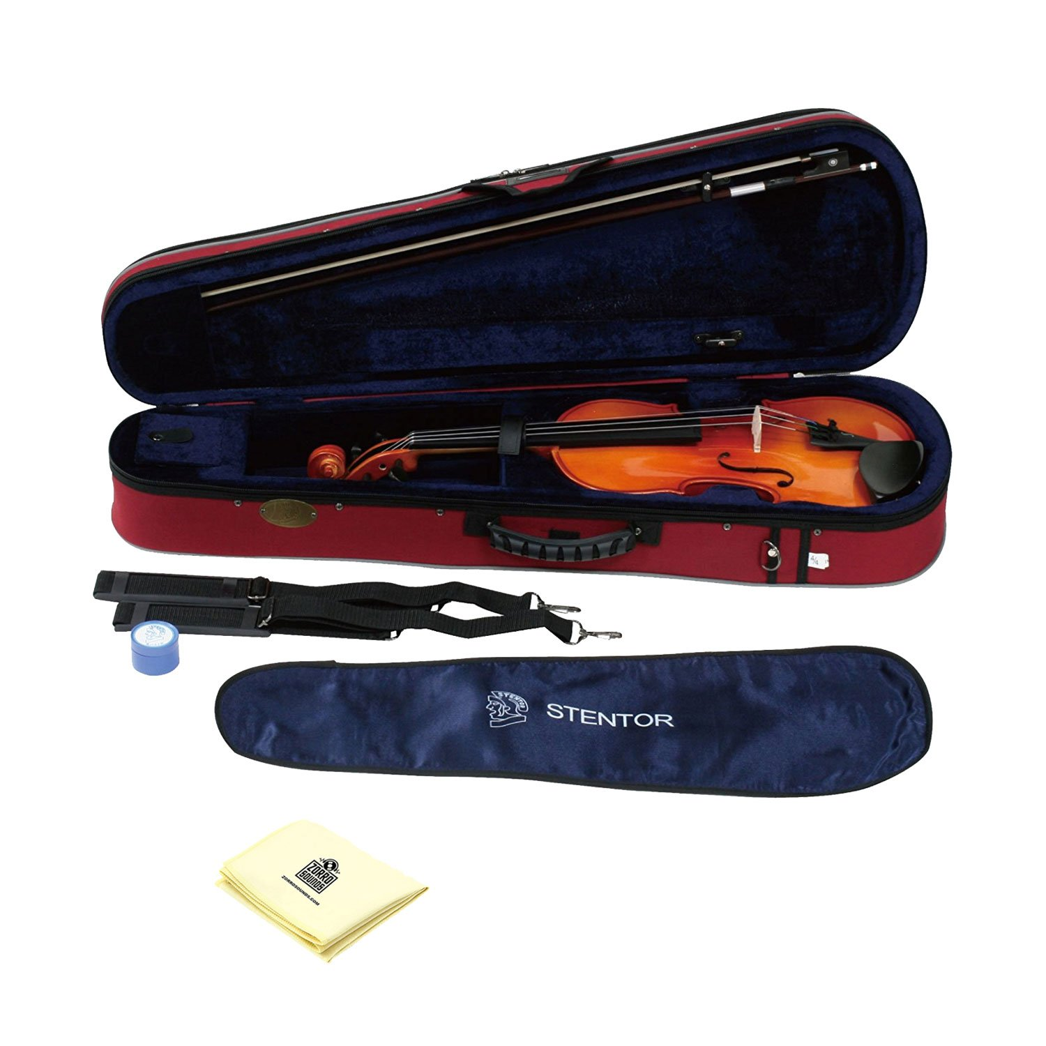 Stentor 1500-4/4 Violin Student II Outfit 4 String Violin (Made from quality tonewoods) Hand Crafted with Fine Grained Solid Spruce Top with Zorro Sounds Violin Polishing Cloth - stentor violin 4/4 by Stentor
